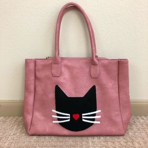 Pink Haley Vegan Leather Cat Tote